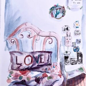 Watercolor bedroom portrait