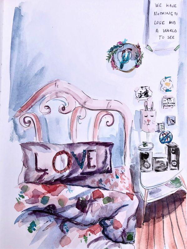 Watercolor bedroom portrait
