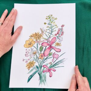 Wildflowers bouquet ink and watercolor