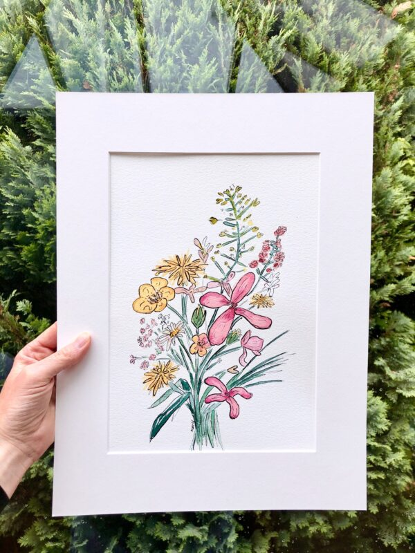 Wildflower bouquet ink and watercolor